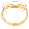 Memory wire, gold-finished stainless steel, 2-1/4 inch bracelet, 0.60-0.75mm thick. Sold per pkg of 12 loops.