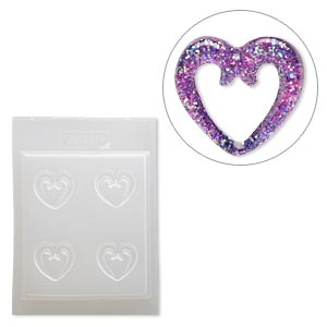 Mold, Deep Flex™, plastic, 26x23mm scroll heart. Sold individually.