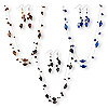 Necklace and earring, acrylic / glass seed bead / nylon / imitation rhodium-finished steel, black / brown / cobalt, 11x9mm flat oval, 18 inches with lobster claw clasp and 1-1/2 inch extender chain, 2-1/2 inch earrings with fishhook earwires. Sold per pkg of 3 sets.