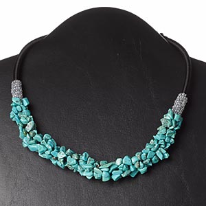 Necklace, magnesite (dyed / stabilized) / nylon cord / glass / plastic, black / grey / blue, 16-1/2 inches with 3-inch loop extender and button clasp. Sold individually.