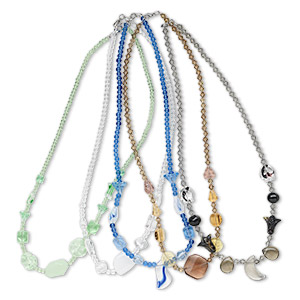 Necklace mix, glass, mixed colors and shapes, 16-20 inch. Sold per pkg of 5.