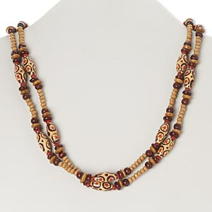 Necklace, painted wood, light brown / dark brown / red, star design, 40-inch continuous loop. Sold individually.