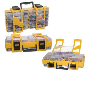 Organizer, Need A Bead Now™, black and yellow, 8 x 15 x 4-1/2 inches, 52 compartments. Sold individually.
