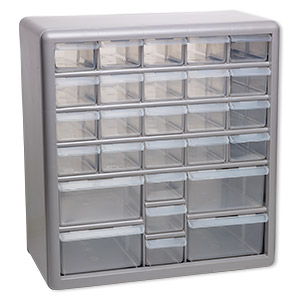 Organizer, Stack-On®, plastic, clear and silver, 13-3/8 x 12-5/8 x 6-3/8 inches, 27 drawers. Sold individually.