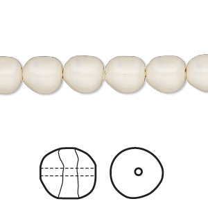 Pearl, Swarovski® crystal gemcolors, ivory, 8mm baroque (5840). Sold per pkg of 250.