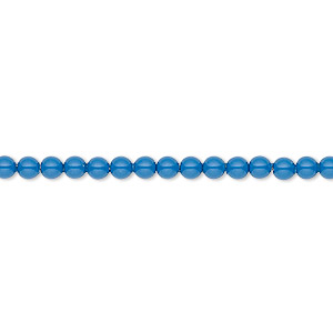Pearl, Swarovski® crystal gemcolors, lapis, 3mm round (5810). Sold per pkg of 100.