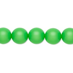 Pearl, Swarovski® crystals, neon green, 10mm round with 1.3-1.5mm hole (5811). Sold per pkg of 25.
