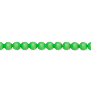 Pearl, Swarovski® crystals, neon green, 4mm round (5810). Sold per pkg of 100.