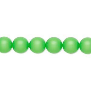 Pearl, Swarovski® crystals, neon green, 8mm round (5810). Sold per pkg of 50.