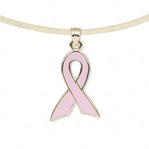 Pendant, 14Kt gold and enamel, pink, 21x15mm single-sided awareness ribbon. Sold individually.