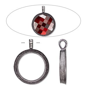 "Pendant, Almost Instant Jewelry®, Swarovski® crystals and gunmetal-finished ""pewter"" (zinc-based alloy), crystal clear, 46x36mm single-sided textured round with 30mm round setting. Sold individually."