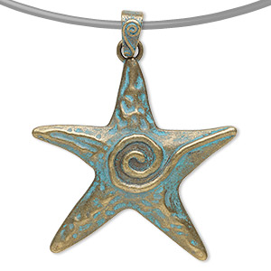 "Pendant, antique copper-finished ""pewter"" (zinc-based alloy), green patina, 2-1/2 inch single-sided starfish with swirl design. Sold per pkg of 2."