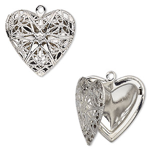Pendant cage, silver-finished brass, 25.5x24.5mm single-sided hinged heart with cutout flower. Sold individually.