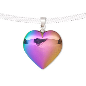 Pendant, electroplated Hemalyke™ (man-made) and silver-finished brass, rainbow, 28x20mm double-sided heart. Sold individually.