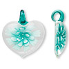 Pendant, lampworked glass, teal / white / clear, 50x45mm single-sided heart with flower. Sold individually.