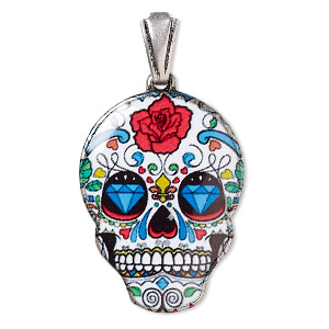 Pendant, resin and silver-plated brass, multicolored, 30x22mm Dia de los Muertos skull with rose and diamond pattern with open bail. Sold individually.