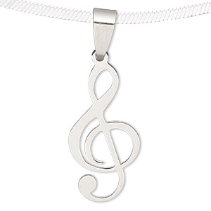Pendant, stainless steel, 27x14mm matte and shiny treble clef. Sold individually.