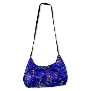Purse, rayon, blue, 13x10 inches with Oriental pattern and 26-inch strap. Sold individually.