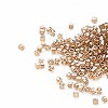 Seed bead, Delica®, glass, color-lined champagne, (DB907CUT), #11 cut. Sold per 50-gram pkg.
