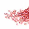 Seed bead, Delica®, glass, color-lined cranberry, (DB62CUT), #11 cut. Sold per 50-gram pkg.