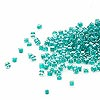 Seed bead, Delica®, glass, color-lined dark turquoise blue, (DB918CUT), #11 cut. Sold per 50-gram pkg.