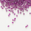 Seed bead, Delica®, glass, color-lined fuchsia, (DB281), #11 round. Sold per 50-gram pkg.