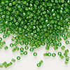 Seed bead, Delica®, glass, color-lined lime green, (DB274), #11 round. Sold per 50-gram pkg.