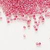 Seed bead, Delica®, glass, color-lined pink lipstick, (DB914), #11 round. Sold per 7.5-gram pkg.