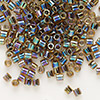 Seed bead, Delica®, glass, color-lined rainbow olive, (DBL89), #8 round. Sold per 50-gram pkg.