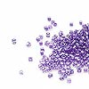 Seed bead, Delica®, glass, color-lined shimmer lavender, (DB906CUT), #11 cut. Sold per 50-gram pkg.