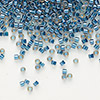 Seed bead, Delica®, glass, color-lined steel blue, (DB921), #11 round. Sold per 7.5-gram pkg.