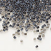 Seed bead, Delica®, glass, color-lined steel grey, (DB925), #11 round. Sold per 7.5-gram pkg.