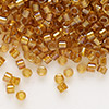 Seed bead, Delica®, glass, color-lined topaz yellow, (DB65), #11 round. Sold per 50-gram pkg.