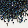 Seed bead, Delica®, glass, iris blue, (DB2), #11 round. Sold per pkg of 7.5 grams.