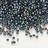 Seed bead, Delica®, glass, iris gunmetal, (DB6), #11 round. Sold per pkg of 7.5 grams.