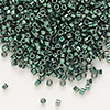 Seed bead, Delica®, glass, nickel-finished dark green, (DB458), #11 round. Sold per 50-gram pkg.