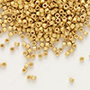 Seed bead, Delica®, glass, opaque 24Kt gold-finished matte, (DB331), #11 round. Sold per pkg of 50 grams.