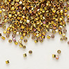 Seed bead, Delica®, glass, opaque 24Kt gold-finished rainbow rose, (DB501CUT), #11 cut. Sold per 250-gram pkg.