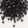 Seed bead, Delica®, glass, opaque black, (DB10CUT), #8 cut. Sold per 7.5-gram pkg.