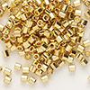 Seed bead, Delica®, glass, opaque bright 24Kt gold-finished, (DBL31CUT), #8 cut. Sold per 7.5-gram pkg.