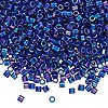 Seed bead, Delica®, glass, opaque cobalt blue AB, (DBL165), #8 round, 1.5mm hole. Sold per pkg of 7.5 grams.