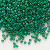 Seed bead, Delica®, glass, opaque green, (DB656), #11 round. Sold per 50-gram pkg.