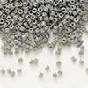 Seed bead, Delica®, glass, opaque grey, (DB731), #11 round. Sold per pkg of 50 grams.
