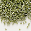 Seed bead, Delica®, glass, opaque luster olive green, (DB263), #11 round. Sold per pkg of 50 grams.