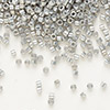 Seed bead, Delica®, glass, opaque luster rainbow grey-gold, (DB251), #11 round. Sold per pkg of 250 grams.