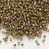 Seed bead, Delica®, glass, opaque luster rainbow olive, (DB133), #11 round. Sold per pkg of 50 grams.