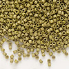 Seed bead, Delica®, glass, opaque matte luster khaki gold, (DB371), #11 round. Sold per pkg of 50 grams.