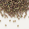 Seed bead, Delica®, glass, opaque matte luster rainbow olive rose, (DB380), #11 round. Sold per pkg of 50 grams.