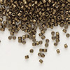 Seed bead, Delica®, glass, opaque matte metallic dark gold, (DB322), #11 round. Sold per pkg of 50 grams.