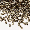 Seed bead, Delica®, glass, opaque matte metallic dark gold, (DBL322), #8 round. Sold per 50-gram pkg.